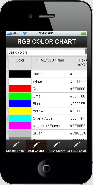 RGB COLOR CHART - screenshot