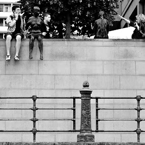 On the quay of the river Spree by Christine Schmidt - Black & White Street & Candid ( statues, street, candid, berlin )