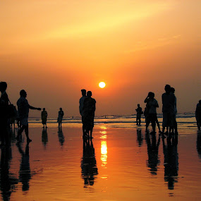 Golden Beach... by Soura Dutta - People Street & Candids ( silhouette, sunset, beach, people, golden )
