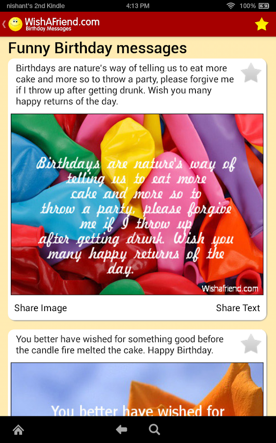 Birthday Messages - screenshot