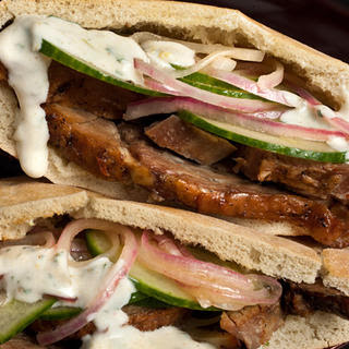 Lamb Pitas with Cucumbers and Yogurt Sauce