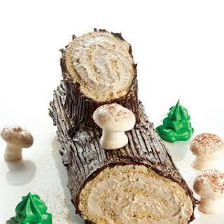 Bûche de Noël (Yule Log Cake with Coffee Buttercream and Ganache).