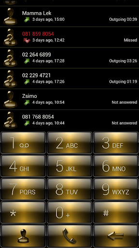 Dialer Gloss Gold Theme Skin