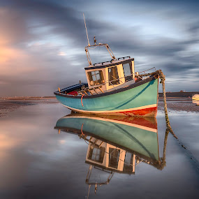 Catching the Late Evening Light. by Raymond Mcbride - Transportation Boats ( north west england, meols, sunset, boats, beach )