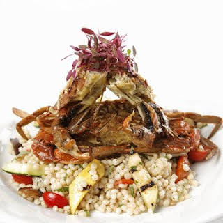 Israeli Couscous Salad with Grilled Summer Vegetables.