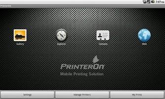 Screenshot of PrinterOn Android App - Tablet