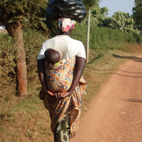 Woman going to work in the fields w infant by D Michelle Foresman - People Street & Candids