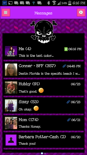 GO SMS - Luv Skulls 2