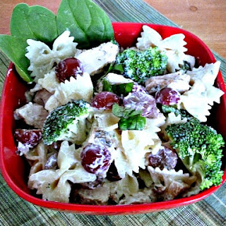 Broccoli Grape Pasta Salad with Chicken.