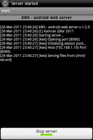 kWS - Android Web Server - screenshot