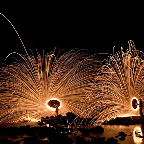Twin Spin by Jamie Rabold - Abstract Fire & Fireworks ( canon camera, wool spinning, waterfall, j rabold photo, fire, gooseberry falls state park, minnesota, fire spinning, steel wool, willowmaker, lightpainting, north shore, night, night shot )