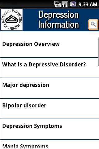 NIH Depression Information- screenshot