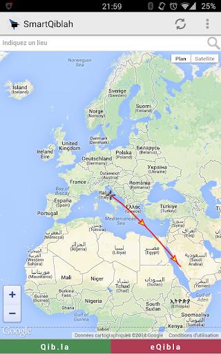 SmartQiblah via Maps قبلة