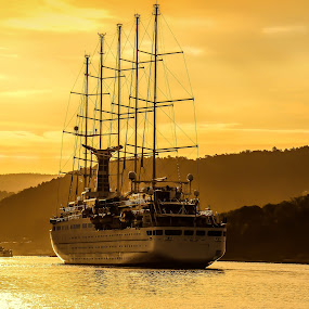 Wind Surf Early In The Morning by Lillian Molstad Andresen - Transportation Boats ( clouds, water, hills, reflections, boat, landscape, sailboat, morning, norway, fjord, mast, oslo fjord, sky, nature, sailing, fog, oslo, sunrise, mist, land, device, transportation,  )