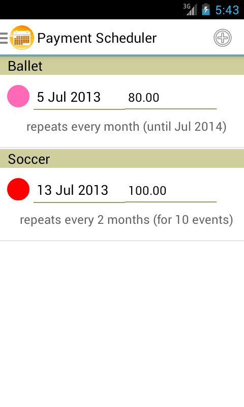 Payment Scheduler - screenshot