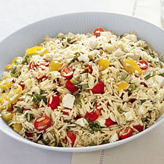 Orzo with Tomatoes, Feta, and Green Onions.