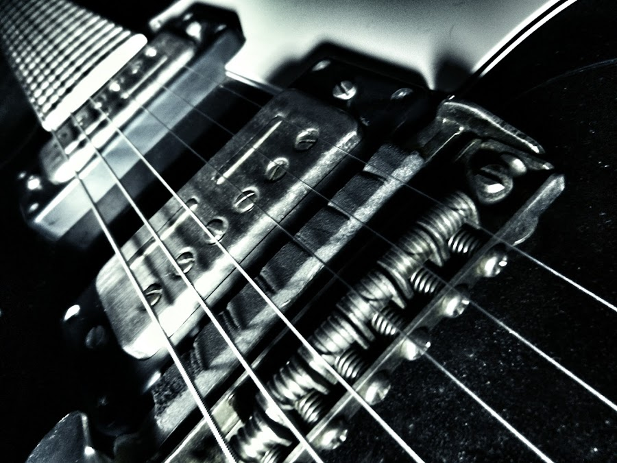 The Bridge and Pick-ups of Guitar in Metallic Blue by Nat Bolfan-Stosic - Artistic Objects Musical Instruments ( musical, blue, guitar, bridge, instrument, object, metallic, pick-ups )