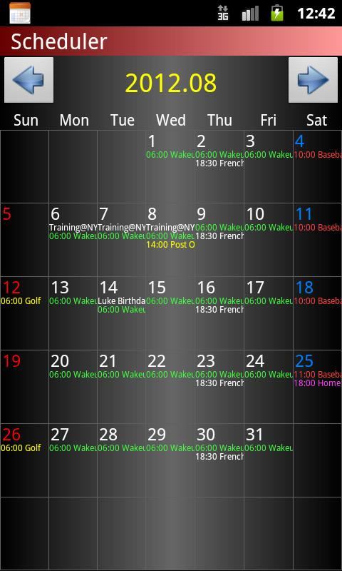 Scheduler- screenshot