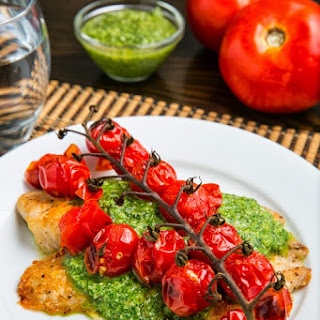 Parmesan Crusted Pesto Tilapia with Roasted Tomatoes.