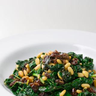 Kale with Vermouth Raisins & Pine Nuts