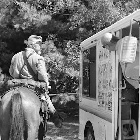 civil war soilder at ice cream truck...... lol  too this at an encampment this summer. by Crissy Barnes Blanton - People Street & Candids