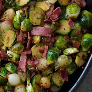 Braised Brussels Sprouts with Bacon and Pearl Onions.