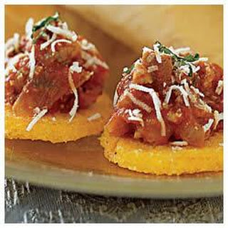 Polenta Hors D'Oeuvres with Sausage and Basil Recipe