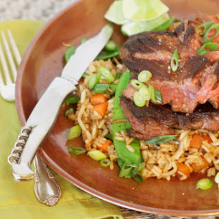 Five-Spice Hanger Steak with Stir-Fried Brown Rice.