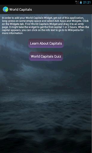 World Capitals Widget
