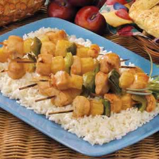 Plum-Glazed Chicken Kabobs.