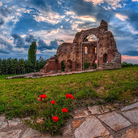 Poppies by Petar Shipchanov - Buildings & Architecture Public & Historical ( red, church, sunset, sanctuary, perushtitsa, poppies, poppy, historic, the red church, bulgaria )