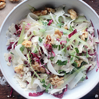 Shaved Cauliflower & Radicchio Salad with Honey-Glazed-Walnuts
