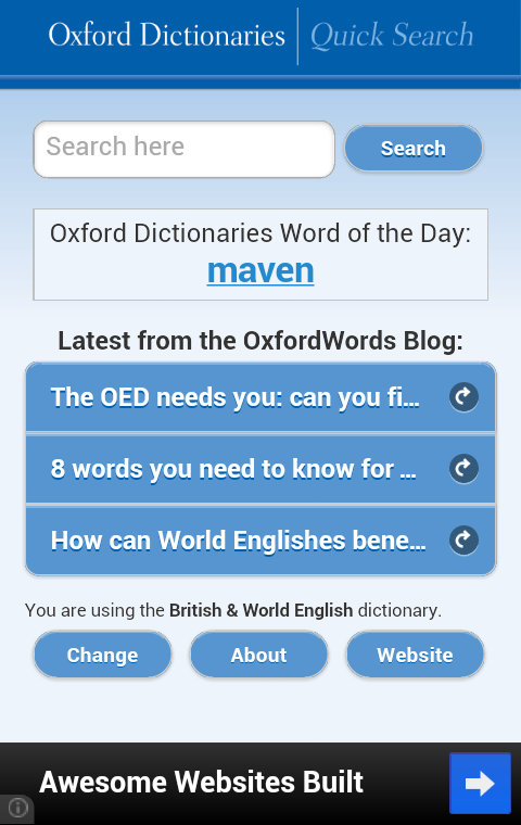 Oxford Dictionaries – Search- screenshot