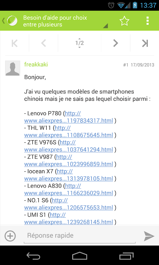 Forum FrAndroid (beta)- screenshot