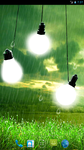 Bulbs In Rain Live Wallpaper