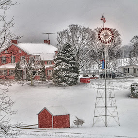 Snow on the Farm by Sharon Horn - Landscapes Weather ( farm, winter, cold, barn, farm house, snow, snow storm, wind mill, windmill )