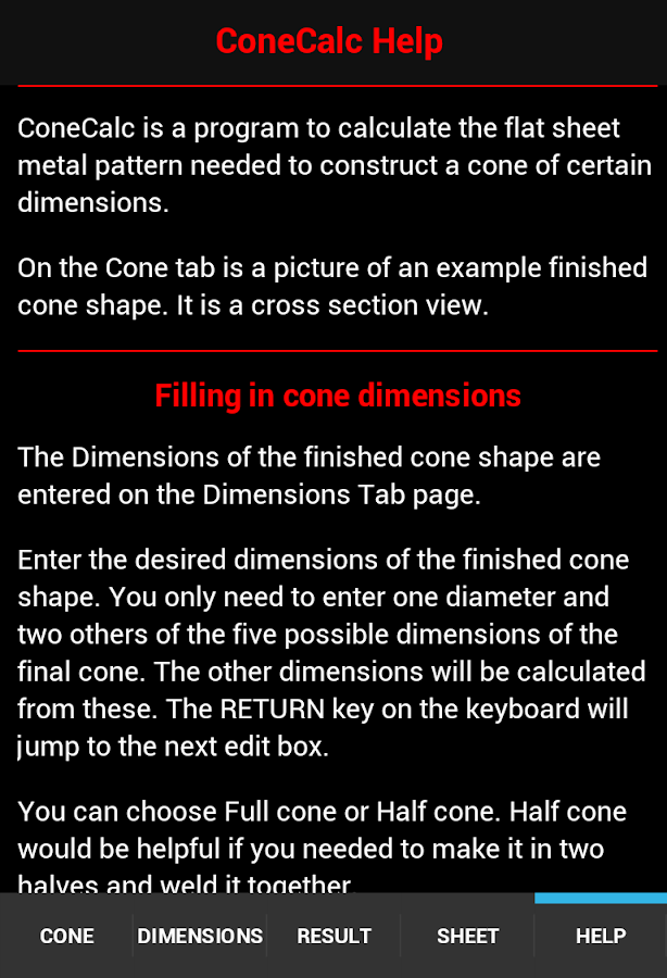 Cone Calc- screenshot