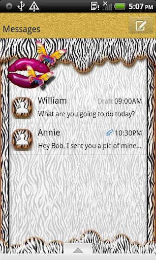 GO SMS THEME ButterflyKissZbr