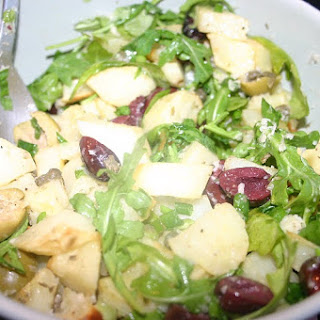 Roasted Potato Salad with Wilted Arugula and Parmesan.