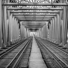 An Egyptian Bridge by Amro Labib - Black & White Buildings & Architecture ( canon, natural light, lost, egyptian, black and white, strand, street, transportation, travel, crop, trail, train, black, trains, streetphotography, patterns, white, tracks, egypt, street photography, arrangement, traffic, pattern, lines, bridge, day, travel photography, daylight, design )