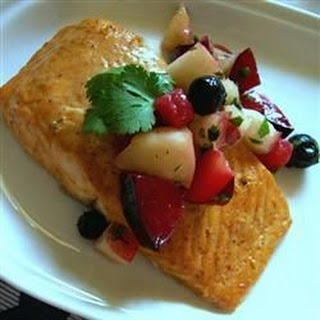 Curried Salmon with Summer Fruit Chutney.