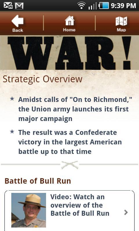 Bull Run Battle App- screenshot
