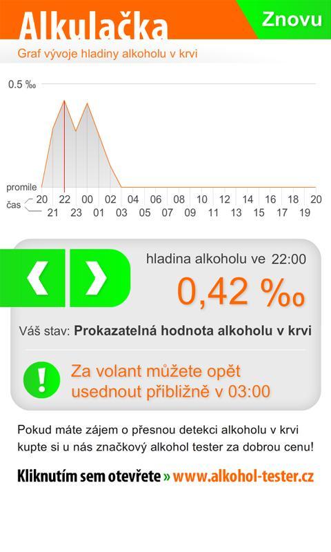 "Alkulačka ""Alkohol tester""- screenshot"