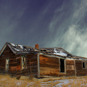 Lost Home by Dustin White - Buildings & Architecture Decaying & Abandoned ( broken, contrast, house, antique, prairie, decay, abandoned, , snow, winter, cold )