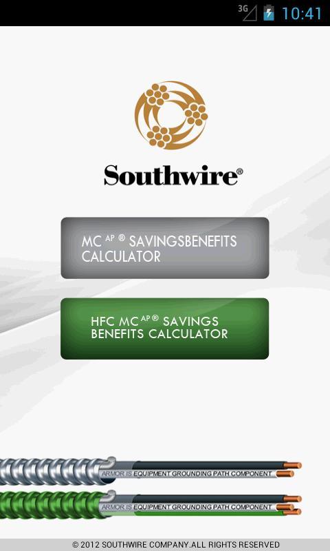 Southwire® MCAP® Savings Calc- screenshot