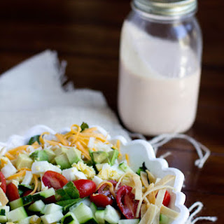 Loaded Salad with BBQ Ranch Dressing.