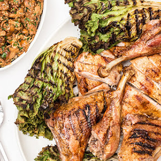 Butterflied Turkey a la Parrilla with Chanterelles and Grilled Chicory