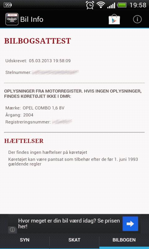 Bil Info nummerplade - screenshot