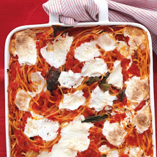Baked Spaghetti and Mozzarella.