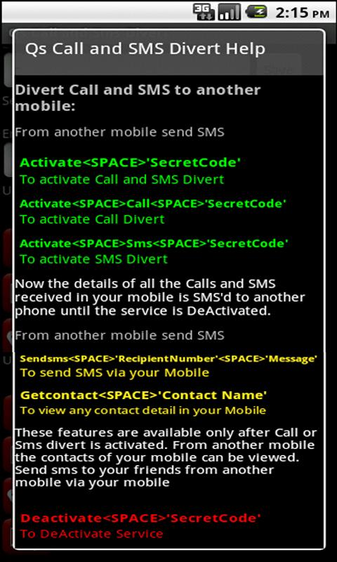 Qs Call & SMS Divert Lite - screenshot